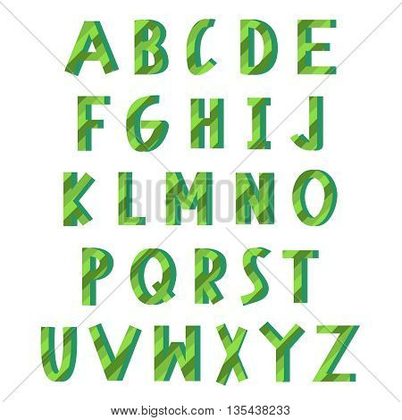 Green eco alphabet. Latin ecology font. Set of english bio letters. Can be used for poster, logos, concepts, connected with nature and ecology
