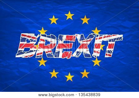 Brexit. Flags Of The United Kingdom And The European Union To Illustrate Possible Exit Of Great Brit