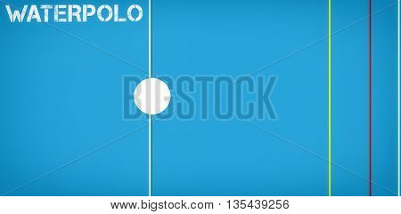 Waterpolo message on a white background against sport field plan on a black background