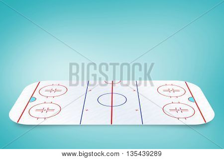 Sport field plan on a white background against blue vignette background