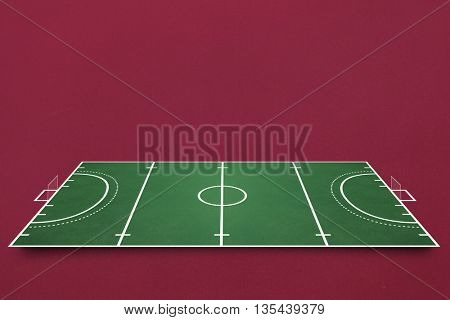 Sport field plan against red background