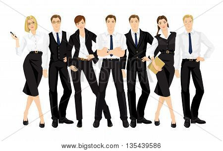 Vector illustration of teamwork. Man and woman in official black suits isolated on white background. Group of business people in different pose