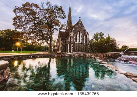 Sunset On St. Alban's Church In Copenhagen, Denmark.