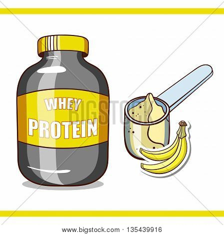 Plastic jar and scoop with banana whey protein on white background. Sport nutrition. Vector illustration.