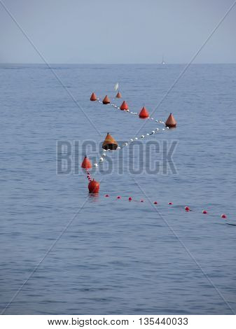 Lots of mooring buoys floating on water in marina. Small boat visible at the top of image. Calm water with small waves