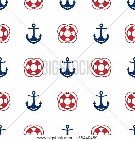 Grunge marine seamless pattern. Vector sea design.