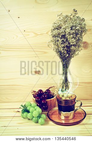 Vintage Photowith Coffee Wood Background