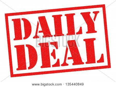 DAILY DEAL red Rubber Stamp over a white background.