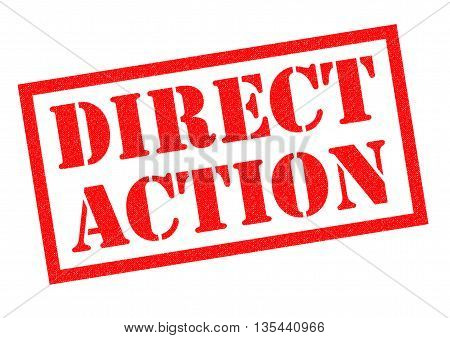 DIRECT ACTION red Rubber Stamp over a white background.