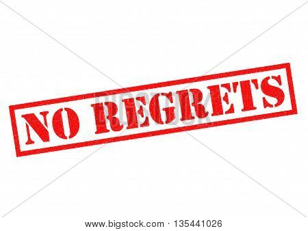 NO REGRETS red Rubber Stamp over a white background.