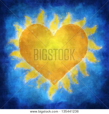 Illustration of a yellow heart which is a sun in blue sky