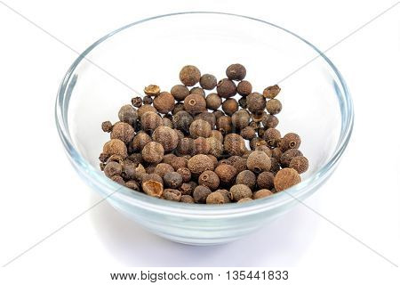 Allspice In Glass Bowl Isolated On White Background