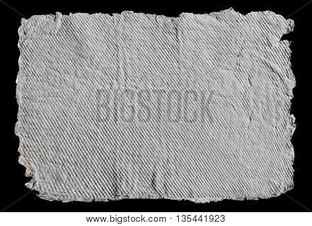 Handmade paper texture background with stripes pattern, isolated