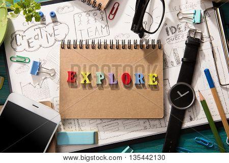 Explore Concept - Inscription  On The Desk