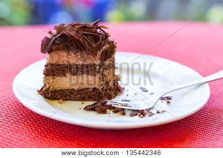 chocolate cake slice on white plate at red background