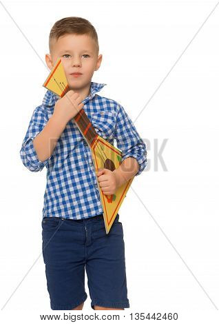 little boy with a toy balalaika. Close-up - Isolated on white background