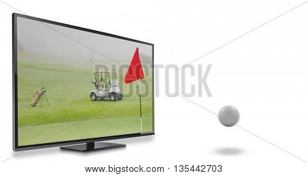 View of a golf ball against view of a golf course