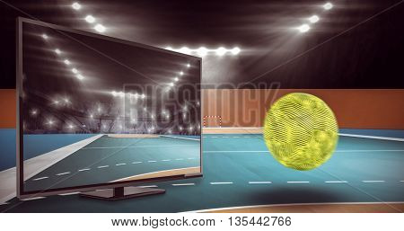 View of a ball against handball field indoor