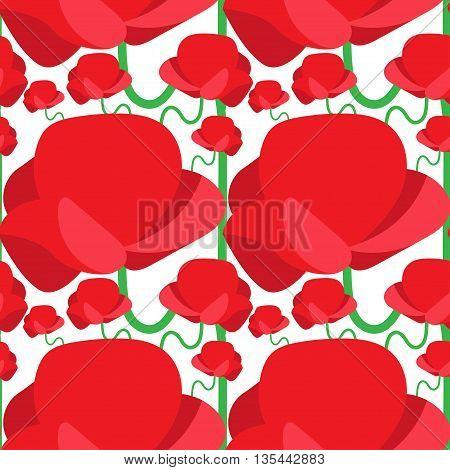 Seamless Pattern Of Abstract Poppy. Vector Illustration