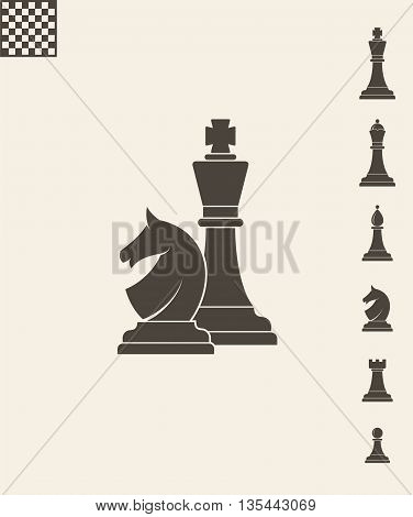 Chess pieces. Abstract icons on gray background. (EPS)
