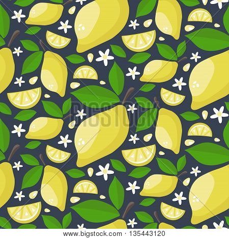 Seamless Pattern Of Ripe Juicy Lemons With Leaves And Flowers. Cartoon Draw Background. Vector Illus