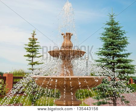 Fountain with jets and sprays of water in the park