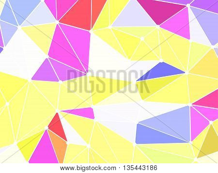 Abstract triangle background illustration. Triangles have white border. Borders are connected with dots.