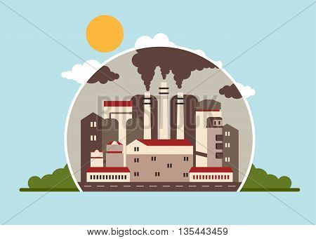 Building industrial plants polluting the environment. Toxic waste from oil extraction. Earth Day. Ecology design concept with air water and soil pollution. Flat icons isolated vector illustration.