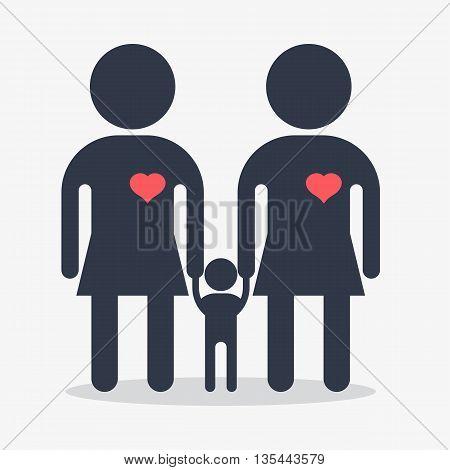 Happy Gay Girl Family Icon