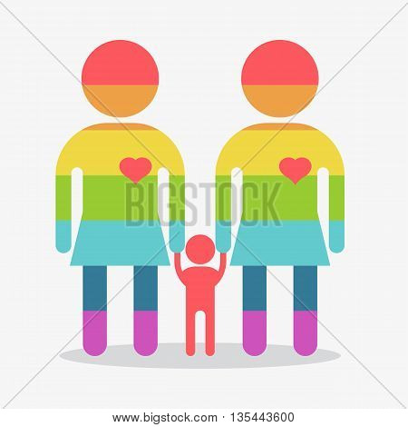 Happy Gay Girl Family Rainbow Icon