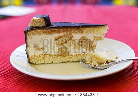 Slice of delicious cake on white plate at red background