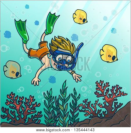 Summer fun diving. Boy diving in the sea with mask and snorkel. Vector Illustration.