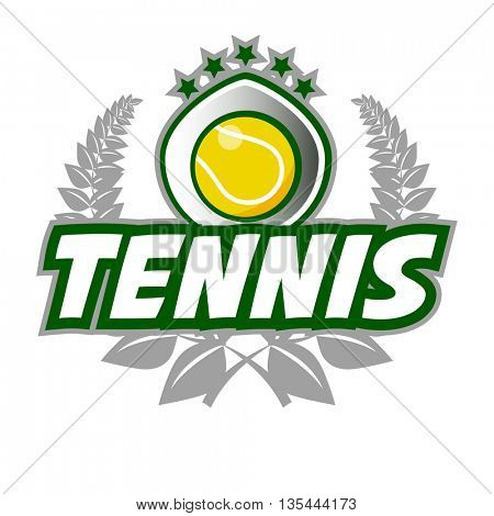 Tennis Badge Logo Template with ball and laurel wreath. Vector Illustration. Isolated on White.