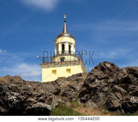 Mountain landscape with a tower. Fox Mountain. Nizhny Tagil. Russia.