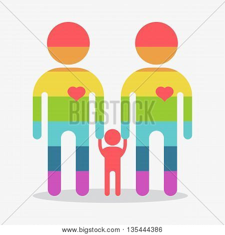 Happy Gay Boy Family Rainbow Icon