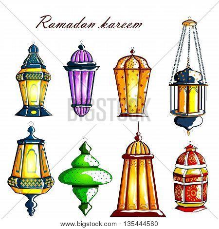 vector illustration of Decorated Arabic lantern for Ramadan Kareem