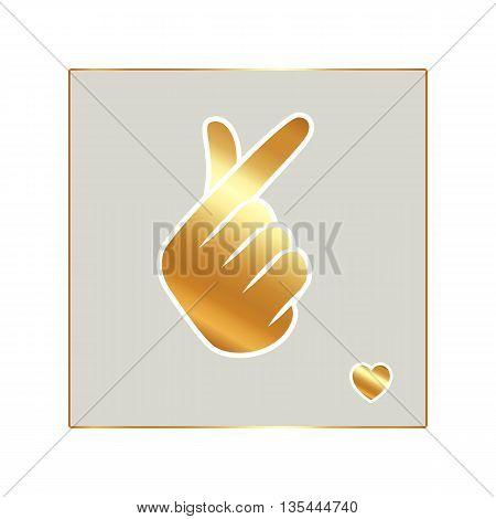 Sign gold Korean symbol hand heart, a message of love hand gesture.