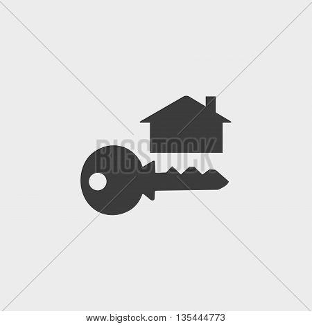 key and house icon Car Icon in a flat design in black color. Vector illustration eps10