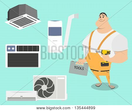 Set air conditioners on a simple background with work. Vector illustration
