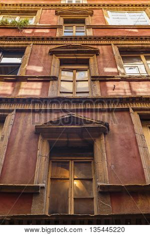 LYON, FRANCE - MAY 24, 2015: This is one of lots old buildings of XVIII century in historic part of town.