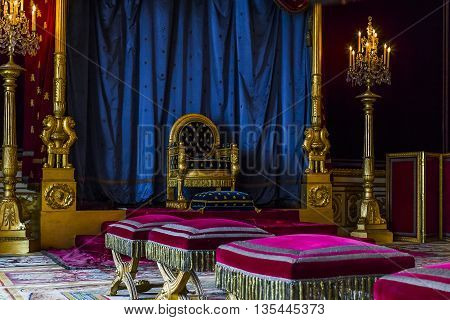 FONTAINBLEAU, FRANCE - MAY 16, 2015: This is the throne room of Napoleon Bonaparte in castle Fontainbleau.