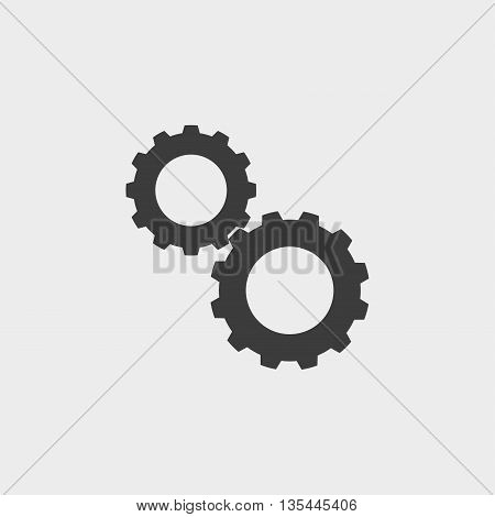 Gear icon Car Icon in a flat design in black color. Vector illustration eps10