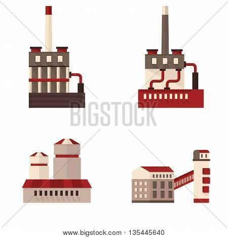 Set of icons plant building. Cartoon flat vector illustration. Objects isolated on a white background.
