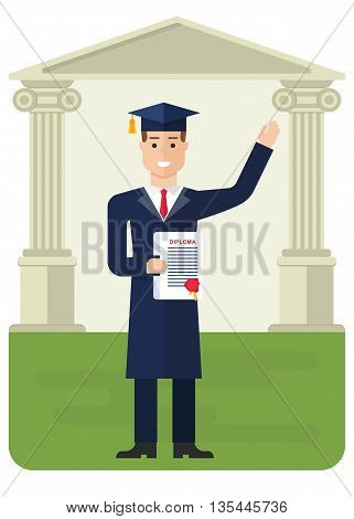 Student receives a diploma. Higher education. Graduation. Cartoon flat vector illustration. Objects isolated on a background.
