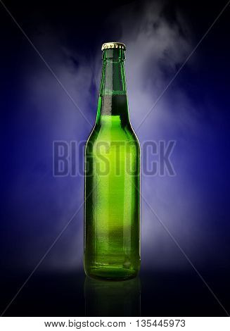 Cold Wet Beer Bottle With Frost And Vapor