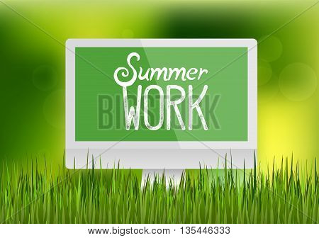 Focus on realistic blank computer monitor, workplace in green grass. Happy summer work, nature illustration. Spring bright natural background and forest in the back