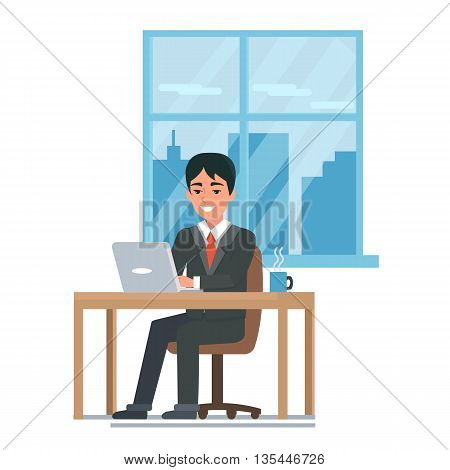 Business man in his office working on a laptop computer. Flat vector illustration.