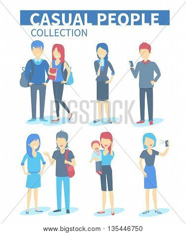 Set of diverse casual people with gadgets. Vector Characters illustrations.