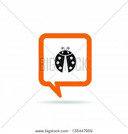 Square Orange Speech Bubble With Ladybug Illustration