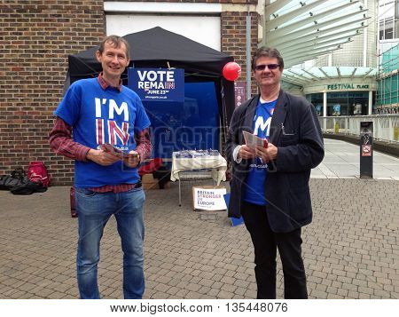 BASINGSTOKE UK - JUNE 22 2016: Campaigners urging voters to Remain in the European Union with less than a day to go before the UK's referendum. Cloudy morning in Basingstoke town centre Hampshire.